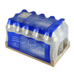 packaging of bottles with tray and printed film
