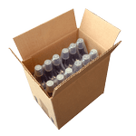 bottles with pusher collated by 3 under film and put into a cardboard box for the palletizing